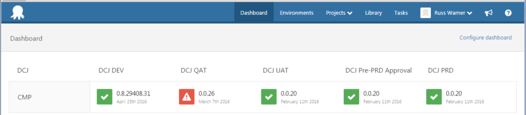 Practical Octopus Deploy - Dashboard After Deployment Success