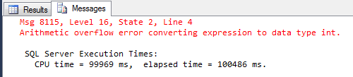 Overflowing the SQL Count function