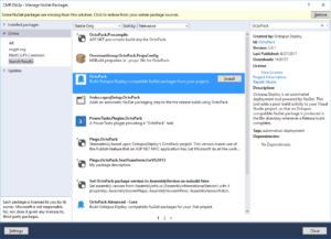 Installing the OctoPack NuGet Package